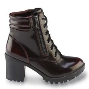 Dark Burgundy Lace Up Chunky Heel Combat Boots 7